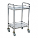 MEDICAL/INSTRUMENT TROLLEY SMALL DOUBLE SHELF